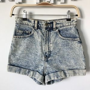 American Apparel • acid wash high waisted shorts